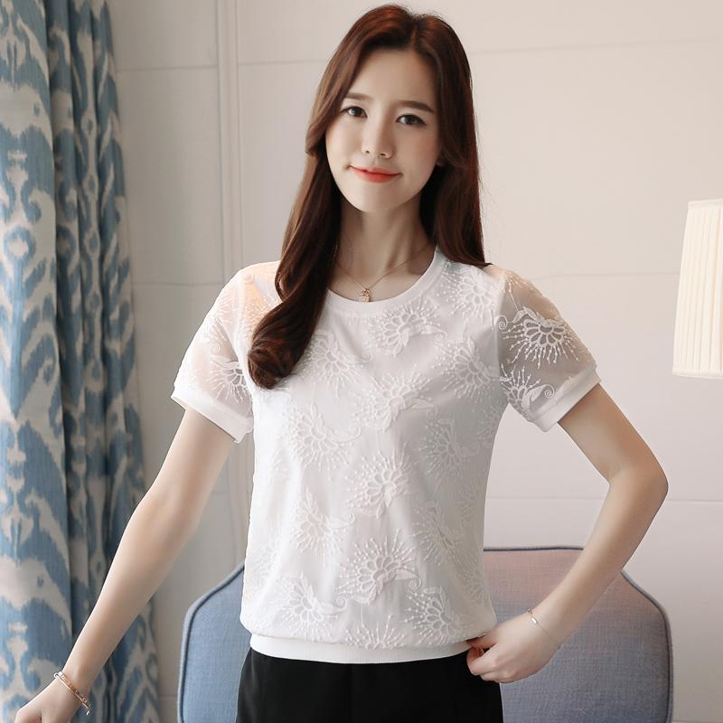 สีเดียวมีมาดแขนสั้นหญิงใหม่ฤดูร้อนเสื้อรองในเสื้อยืดสีขาวตั้งใจจงใจเสื้อเข้าได้หลายชุดเสื้อลูกไม้