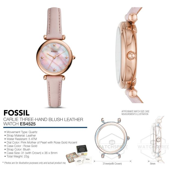 88a57fb58449 Fossil Ladies  Carlie Three Hand Blush Leather Watch ES4525