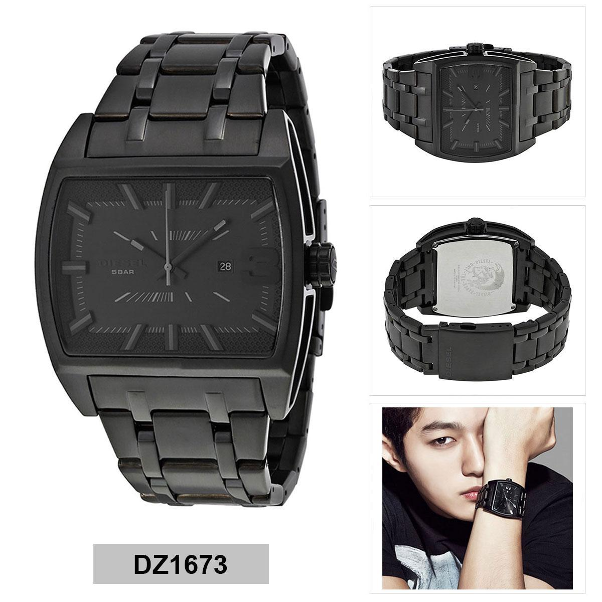 การใช้งาน  ตราด Authentic Diesel Black Ion Plated Stainless-Steel Stainless-Steel Bracelet Mens DZ1673 2 Years Warranty