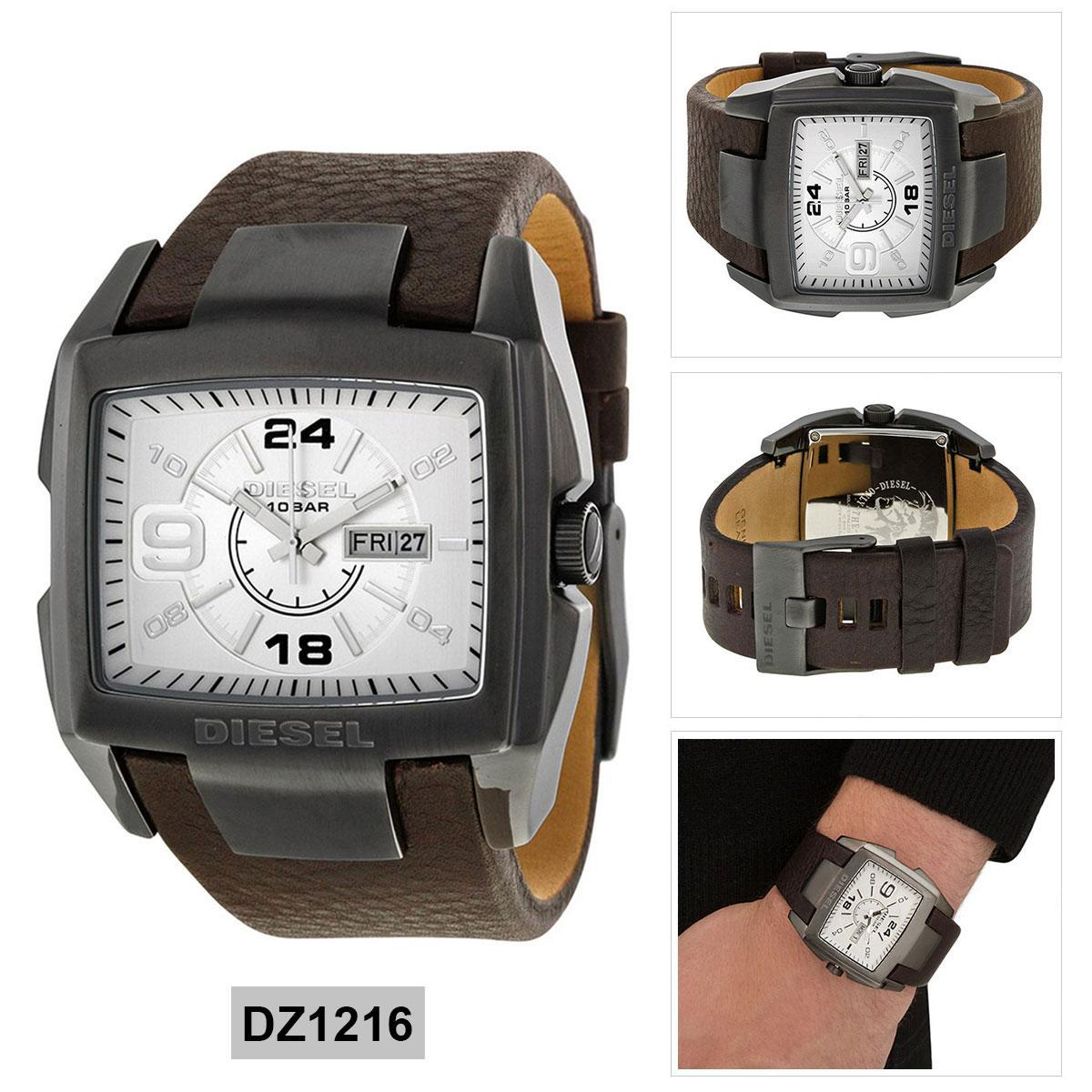 สอนใช้งาน  สุรินทร์ Authentic Diesel Brown Stainless-Steel Case Leather Strap Mens DZ1216 2 Years Warranty