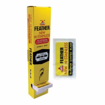 Harga 100 FEATHER Hi-Stainless Platinum Coated Double Edge Razor Blades - intl