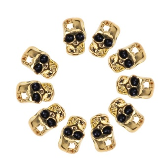 10pcs Skull Halloween Alloy 3D Crown Nail Art Tips Slice DIY Decor Manicure Gold