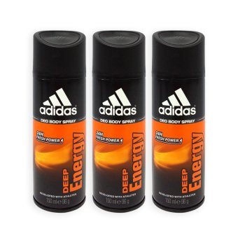 Harga Adidas MEN Body Spray - Deep Energy 24h Deodorant 150ml x 3 Bottles- 0049