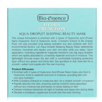 Bio-essence Hydra Tri-Action Aqua Droplet Sleeping Beauty Mask 80g - 3