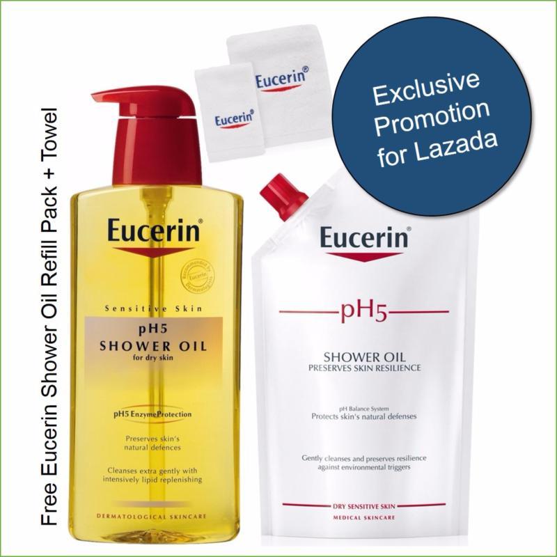 Buy [Bundle Deal] Eucerin pH5 Shower Oil 400ml + FOC Towel + FOC Refill pack Singapore