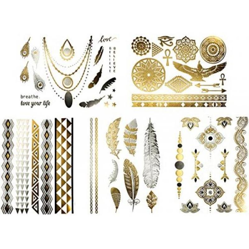 Buy Cleopatra Costume Temporary Tattoos – 50+ Egyptian & Tribal Designs for Halloween in Metallic Gold, Silver, Black - Fake Jewelry Tattoos - Feathers, Doves, Dreamcatcher, Arrows (Azalea Collection) Singapore