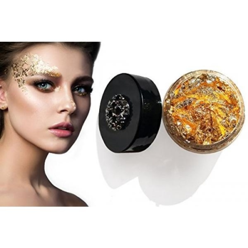 Buy Diva Riot: Midas Kiss Gold Leaf Flakes. Loose cosmetic gold leaf glitter makeup for eyes, face, body, and hair - intl Singapore