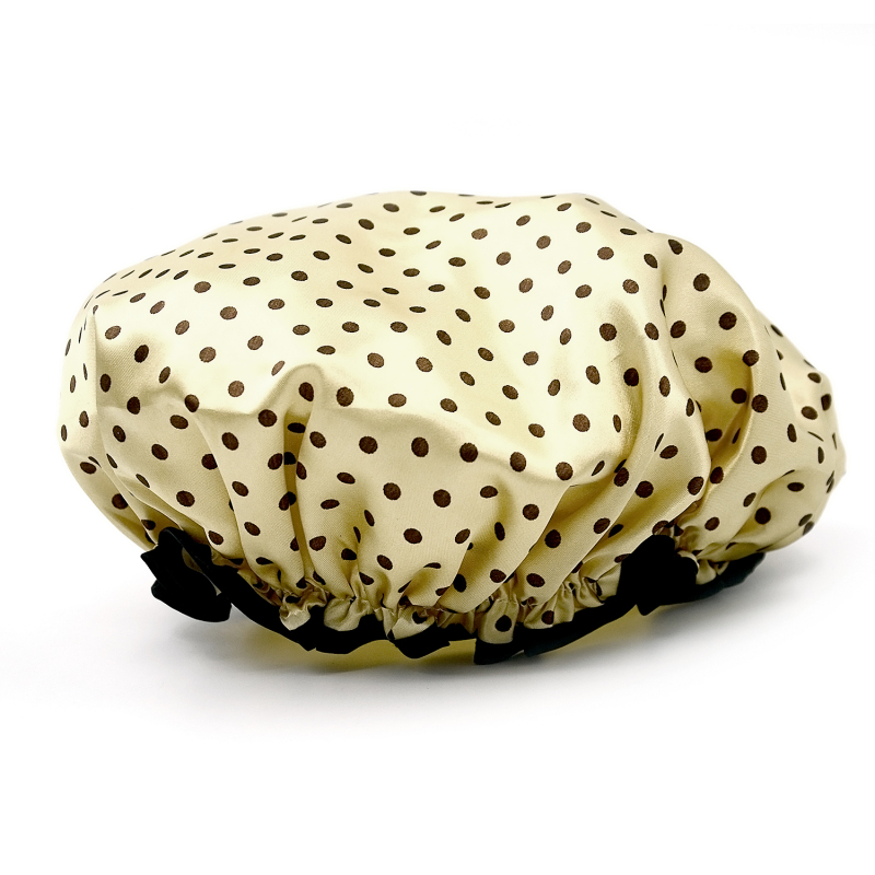 Buy EVA Polka Dot Pattern Waterproof Double Layers Elastic Band Hair Bath Cap Shower Hat Light Coffee (Intl) Singapore