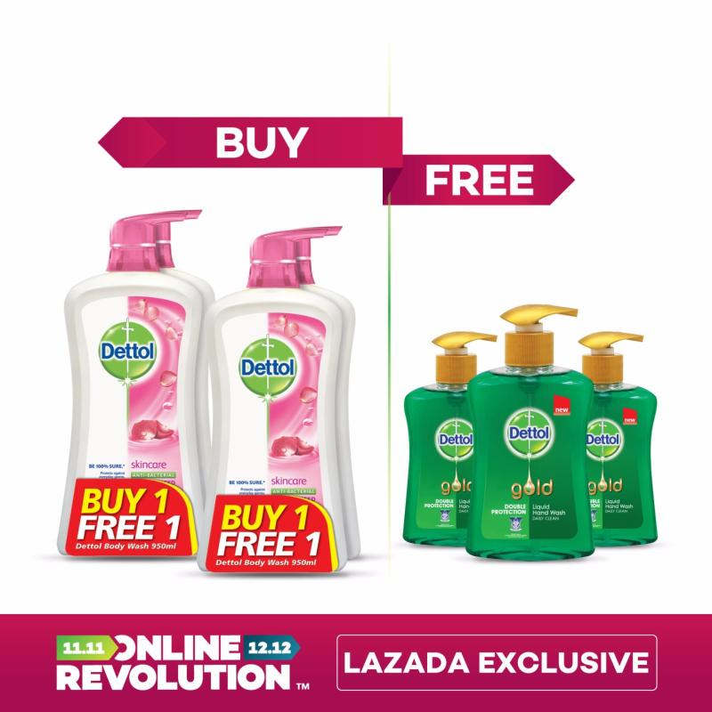 Buy Exclusive Online Revolution: Dettol Anti-Bacterial Shower Gel Skincare Twinpack 950ML x 2 BOGOF &  Dettol Gold Daily Clean Liquid Hand Wash 200ML Singapore