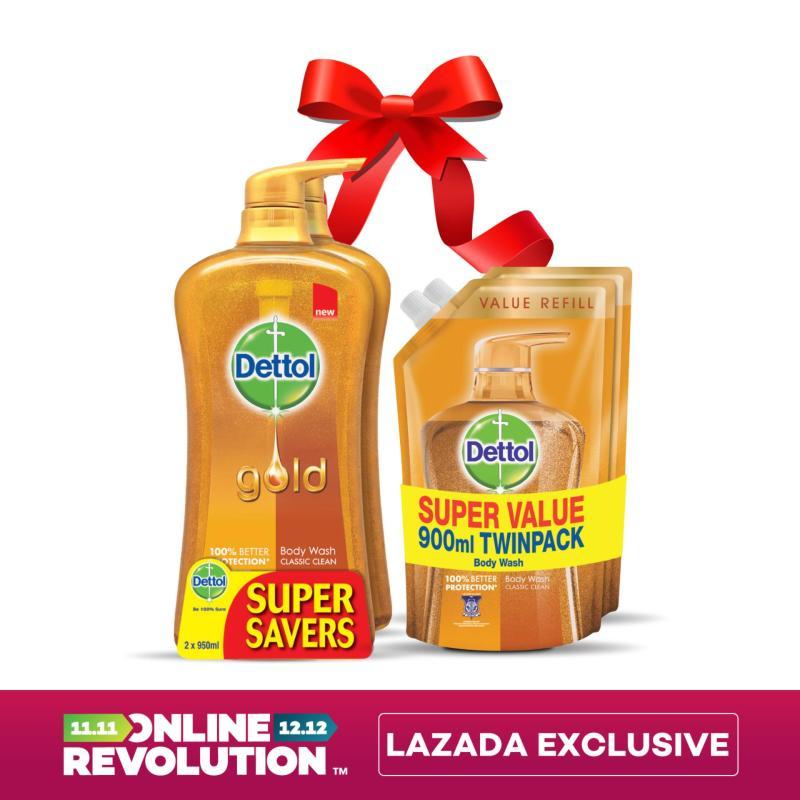 Buy Exclusive Online Revolution: Dettol Gold Classic Clean Shower Gel Twinpack 950ML x 2 & Dettol Gold Classic Clean Shower Gel Refill Twinpack 900ML x 2 Singapore
