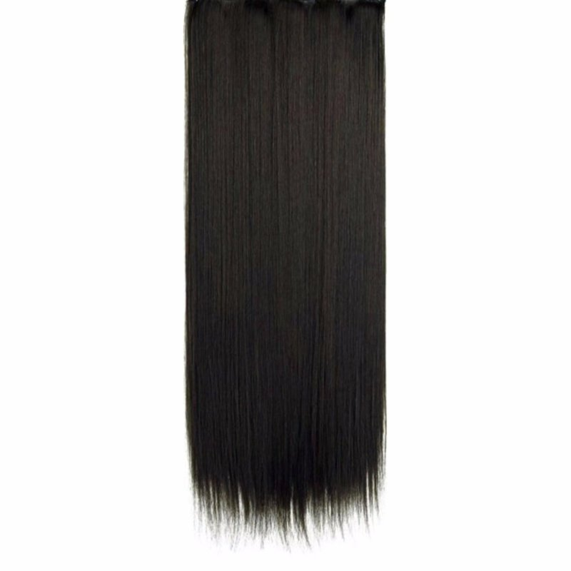 Buy Fancyqube High quality human hair silk 60cm straight hair extension with 5 clips in hair weave for fashion black woman - intl Singapore