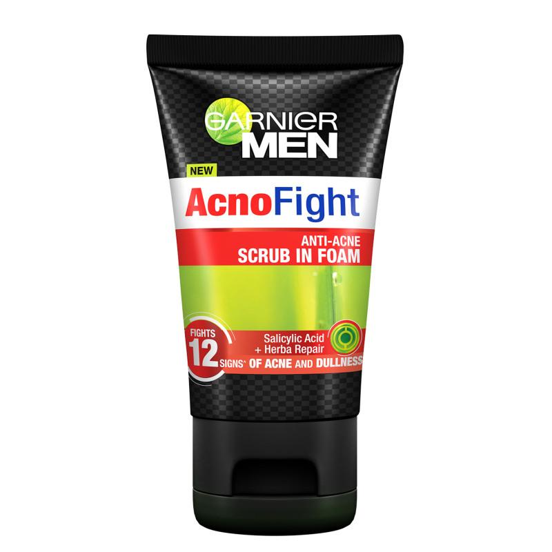 Buy Garnier Men Acno Fight Anti-Acne Scrub in Foam 100ml Singapore
