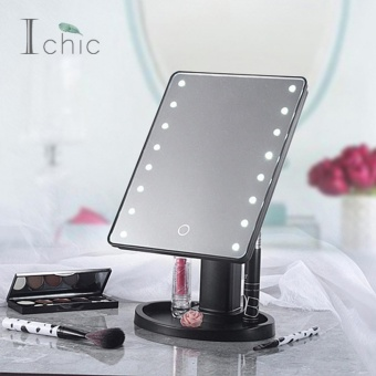 Ichic 16 LED Touch Screen Makeup Mirror Tabletop Lighted CosmeticMirror - intl