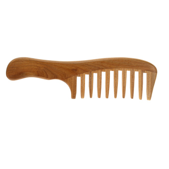 Harga 1 Pc Wooden Comb Natural Green Sandalwood Handmade Wide Tooth Wooden Comb Massage Comb Handmade Comb Hair Care - intl