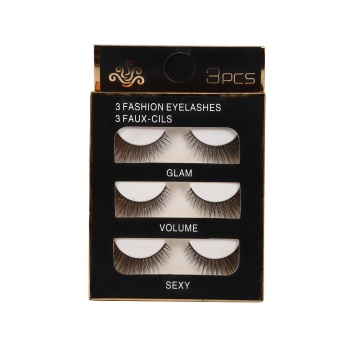 Harga 3 Pairs Natural Eye Lashes Makeup Handmade Thick Fake Cross False Eyelashes 3D35 - intl