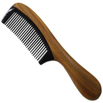 Harga Black Buffalo Horn Hair Wooden Comb with Sandalwood Round Handle Splicing Comb