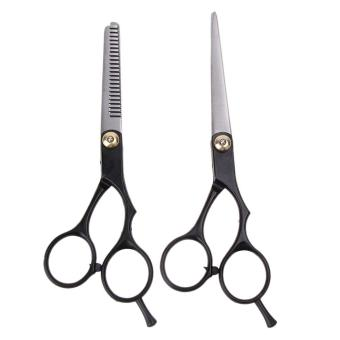 Harga 2pcs Salon Professional Barber Hair Cutting Thinning Scissors Shears (Black) - intl