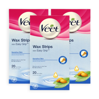 Harga Veet Wax Strips for Sensitive Skin 20 strips x 3 Boxes - 5260