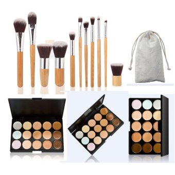 Harga Professional 15 Colour Make Up Concealer Palette +11 Make Up Brushes + Beauty Cosmetics Value Pack - intl
