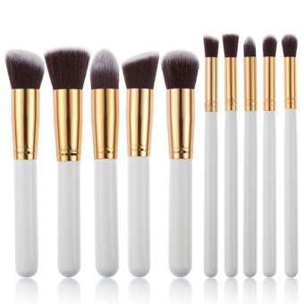 Harga 10pcs Powder Blush Foundation Contour Makeup Brush Set Cosmetic Tool White and Golden