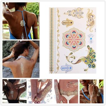 Harga Temporary Tattoos Stickers Peacock Shiny Flower Personality Body Colorful - intl