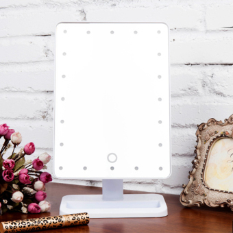 Harga USTORE Beauty Cosmetic Make Up Illuminated Desktop Stand Mirror With 20 LED Light White - intl