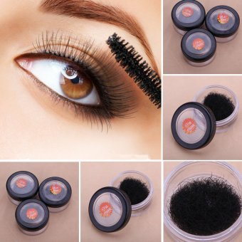 Harga 8 10 12mm 1 Pot Black Individual J-curl False Eyelash Extension DIY Eye Lash Kit - intl