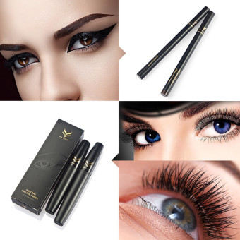 Harga 2Pcs Makeup Liquid Eye Liner Pens Tool + Mascara + Waterproof 3D Eyelash Fiber - intl