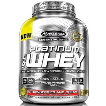 Harga MuscleTech Essential Series Platinum 100% Whey (5lbs) - Strawberry