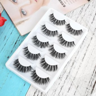 Harga 5 Pairs Fake Eye Lashes 3D Mink Handmade Long Thick False Eyelashes Makeup - intl