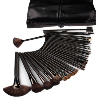 Harga Make-up For You Premium Kabuki Makeup Brush Set Cosmetics Foundation blending blush 32PCS Set Black