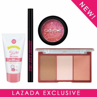 Exclusive Lazada Bundle Set - Cathy Doll Suntection Sun BB Cream SPF30 PA+++ 30g + Cathy Doll 3D Face Forward Nefertiti Contour Kit - Nefertiti Weapon 11g + Cathy Doll Shocking Black Liner 0.5g + Cathy Doll Geisha Iroka Eye Color Mousse #2 Hajirai 3g