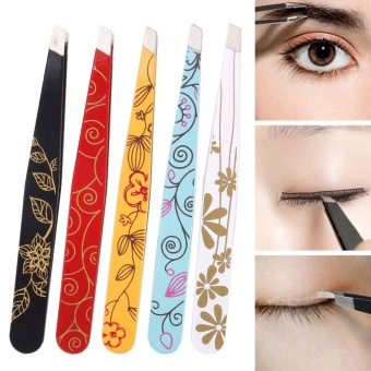 Harga Professional Women Eyebrow Tweezers Hair Beauty Slanted Stainless Steel Tweezer Hair Removal Makeup Tool - intl