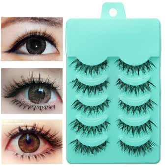 Harga 5 Pairs 3D Natural Soft Eye Lashes Makeup Handmade Thick Fake False Eyelashes - intl