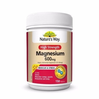 Harga Natures Way High Strength Magnesium 600mg / 150 Tablets / Prevent Muscular Cramps, Aid Stress and Sleep