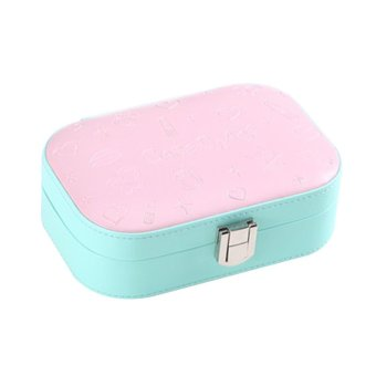 Harga PU Leather Jewelry Storage Box Case Organizer Make-up Mirror Cyan