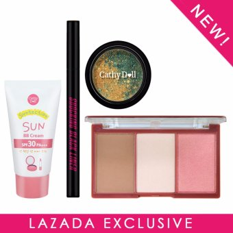 Exclusive Lazada Bundle Set - Cathy Doll Suntection Sun BB Cream SPF30 PA+++ 30g + Cathy Doll 3D Face Forward Nefertiti Contour Kit - Cleopatra Secret 11g + Cathy Doll Shocking Black Liner 0.5g + Cathy Doll Geisha Iroka Eye Color Mousse #1 Unubore 3g