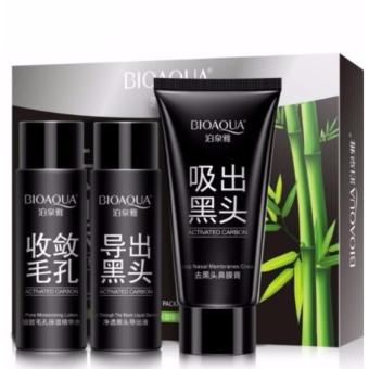 Harga Sinma Bioaqua Activated Carbon 3 in 1 Blackheads Facial Mask Skin Care Remover Black Head Acne Treatment Mask Set Suction Facial Blackhead Deep Cleansing Whitening Mask Set