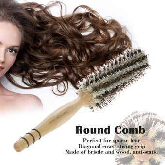Harga Smith Chu Round Comb Bristle Roll Comb Women Hair Roller Brush DIY Hairdressing Curling Comb With Wood Handle - intl