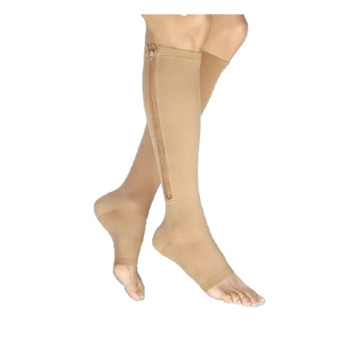 Aukey Nude Zippered Compression Knee Socks