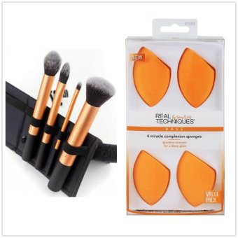 Harga Real Techniques Make-Up Brushes Set Core collection 4Pcs Make-Up Brushes 1403+4 Miracle Complexion Sponges Combination Sales - intl