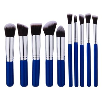 Harga High Quality 10Pcs / Set Makeup Brush Brown-white Hair Blush Brush Eye-shadow Brush Beauty Makeup Tools - intl