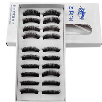 Harga OEM 10 Pairs Thick False Eyelashes Fake Eyelash Hand Made Eye Extension - intl