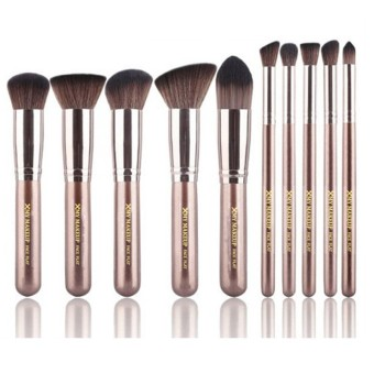Harga 10pcs Makeup Foundation Blending Blush Brush Set (Brown)