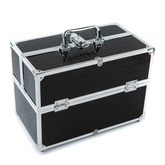 Harga Large Cosmetic Organizer Box Make Up Case for Make Up Tools Lockable Black Containing Storage Box (EXPORT)