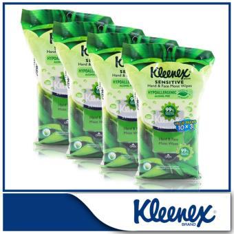 Kleenex Sensitive Hand & Face Moist Wipes 3x10sheets x 4