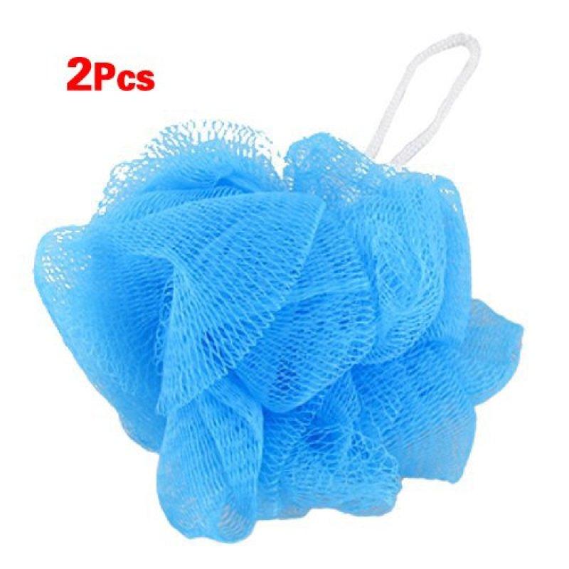 Buy Mesh Soft Bath Sponge Body Pouf Shower Loop Scrubber Blue 2 Pcs Singapore
