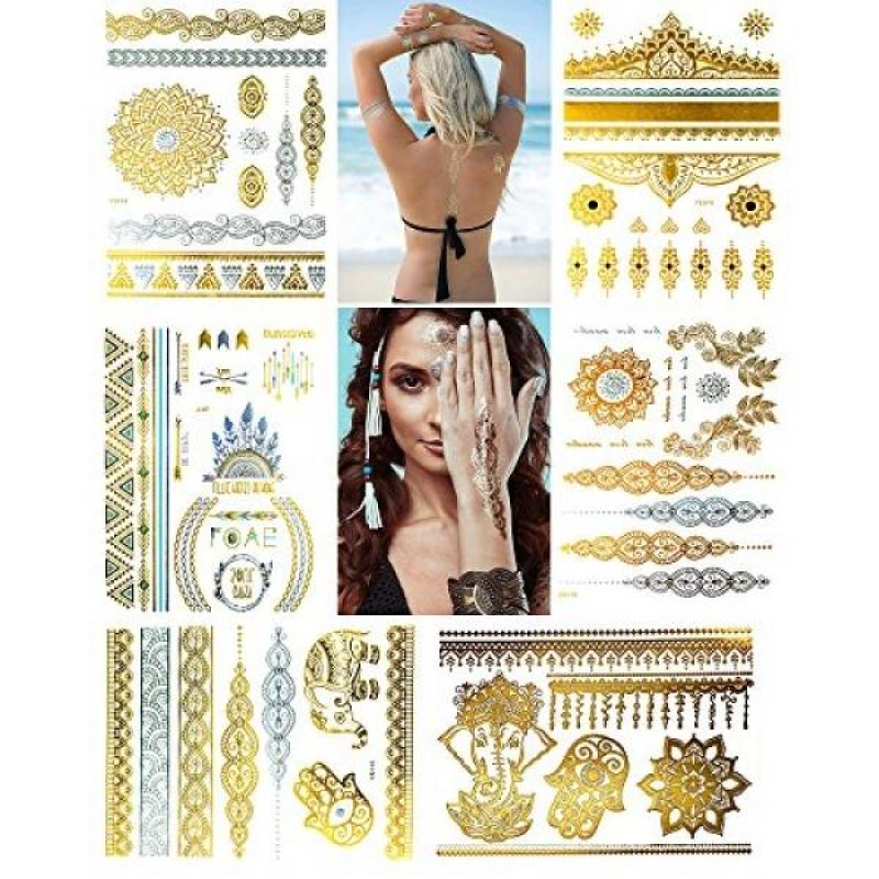 Buy Metallic Temporary Henna Tattoo, 75+ Waterproof Fake Shimmer Tattoos Stylish Designs Stickers for Body Art Gold and Silver for Parties, Festivals, Beaches and Weddings,Over 75 Number of Stickers Singapore