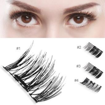 Natural Soft False Eyelash Extension Deluxe Lashes Volume Flase Source · Natural 3D Magnetic Thick Eye