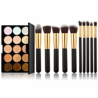 New 15 Colors Makeup Concealer Palette 10pcs Brushes Set Gold Black